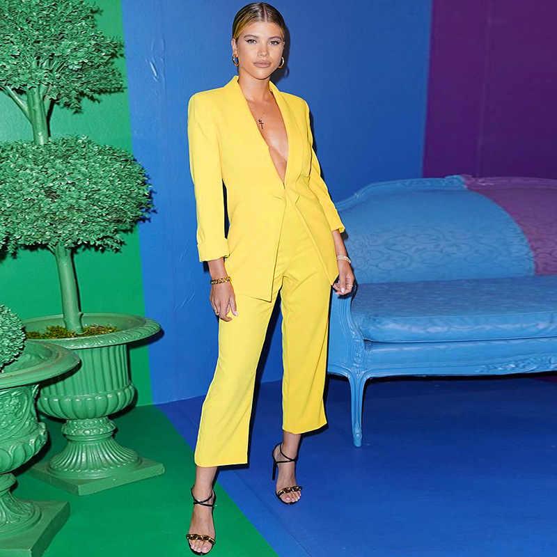 Pantalones de Color sólido trajes de mujer de moda chaqueta de manga larga pantalones de pierna ancha mujeres no Breasted trajes mujeres señoras
