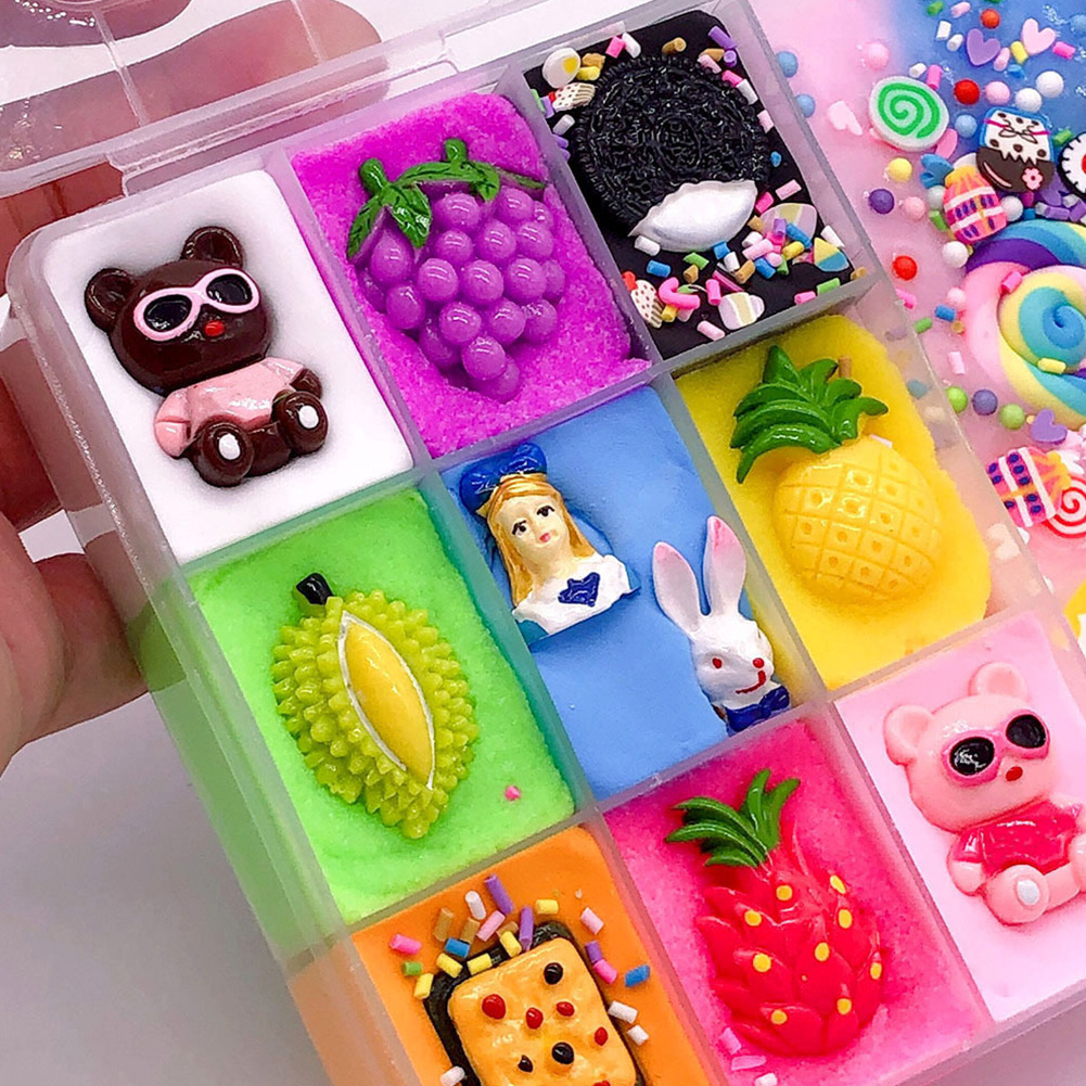 Stress Relieve Cute Fluffy Slime Plasticine DIY Cartoon Ten Grids Art Kids Non Toxic Craft Toys Funny Gift Decoration