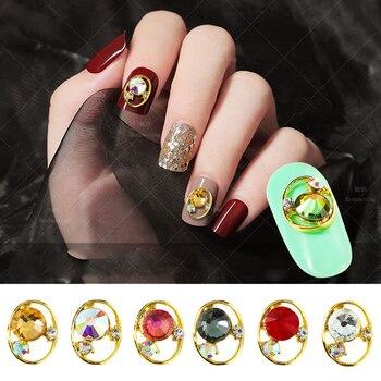 Decoraciones de uñas de aleación japonesa Retro diamante joyería cristal Rhi Oval gotita corte superficie taladro borde de Metal decoración de uñas con perlas Taladro