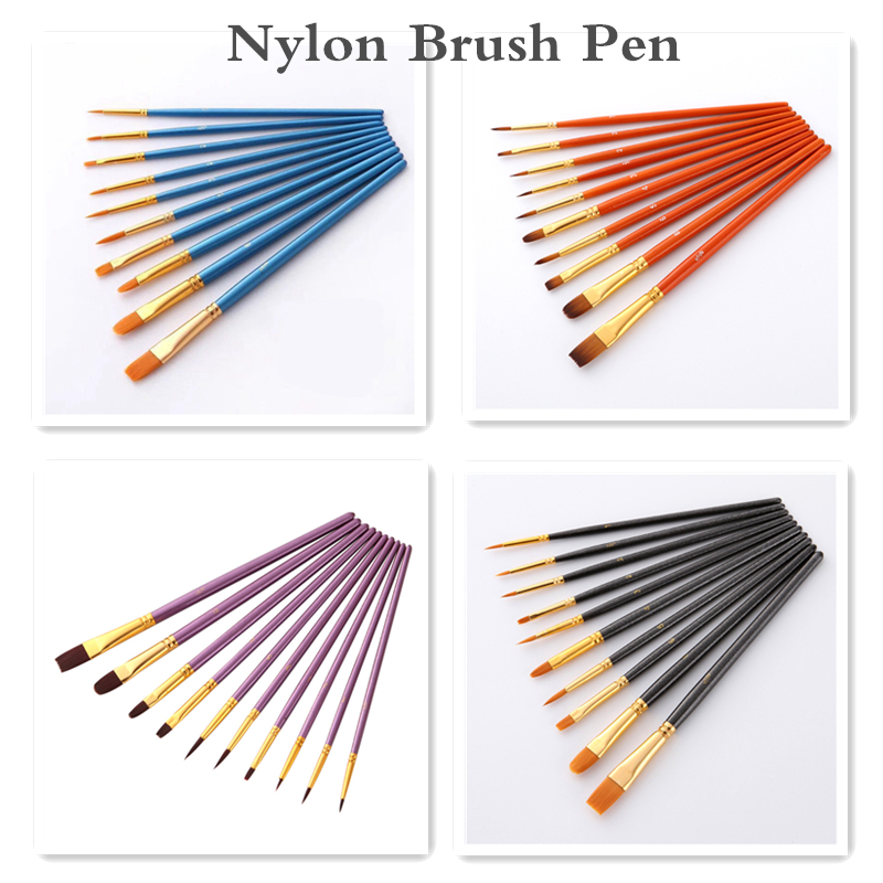 10Pcs/Set Watercolor Gouache Paint Brushes Acrylic Different Shape Round Pointed Tip Nylon Hair Painting Brush Set Art Supplies