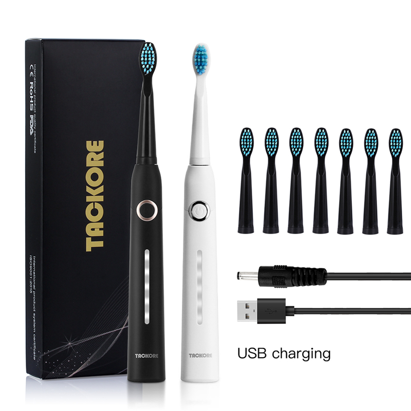 Travel Sonic Electric Toothbrush Adult Timer USB Rechargeable Ultrasonic Electronic Toothbrush With 8pcs Replacement Heads