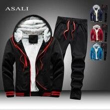 2020 Fleece Hooded Tracksuit Men 2 Pieces Set Sweatshirt + Sweatpants Sportswear Zipper Hoodies Casual Sets Mens Clothing S-5XL