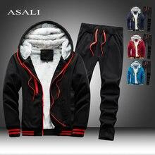 2020 polar kapşonlu eşofman erkekler 2 parça Set kazak + Sweatpants spor fermuar Hoodies rahat setleri erkek giyim S-5XL