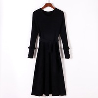 Women Autumn Winter Pleated Swing Wrap Sweater Dress O Neck Long Sleeve A Line Dress Casual Chic Beading Belted Dress