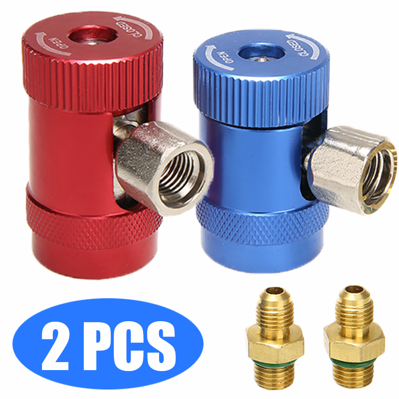 2pcs R1234yf Quick Coupler Connector Adapter Air Conditioning Refrigerant Brass Metal Accessories