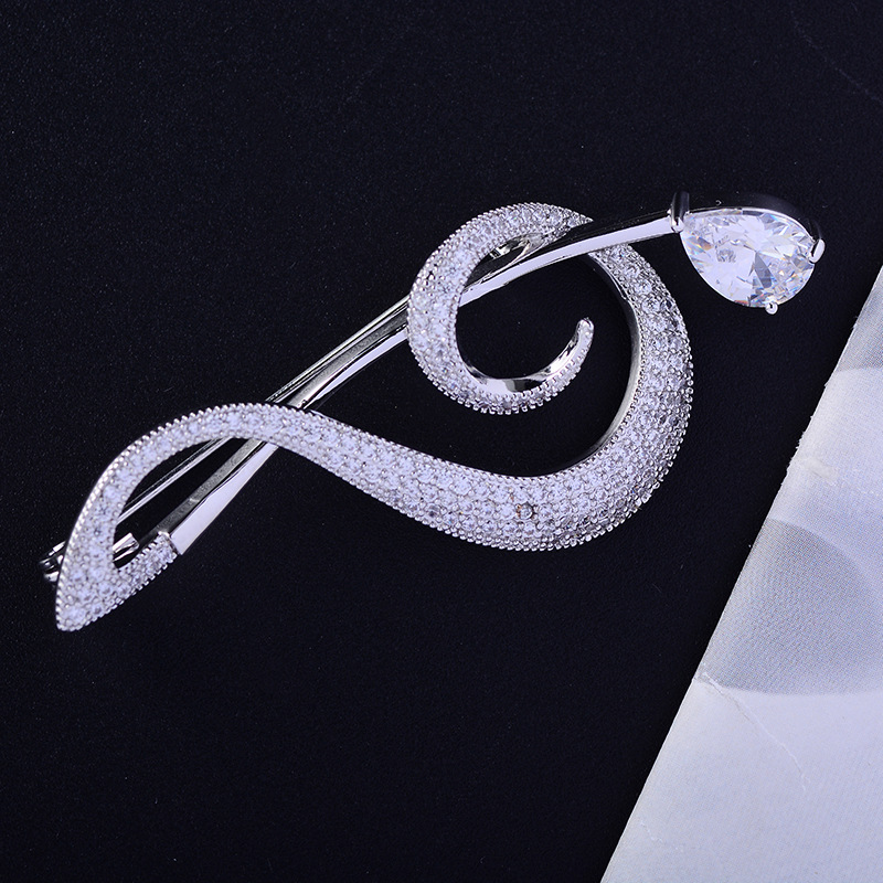 Bad Guy Zircon Brooches for Women's Brooch Pin Accessories for Clothes Decoration Brooch Pins Metal Note Broche Kpop Pins-1