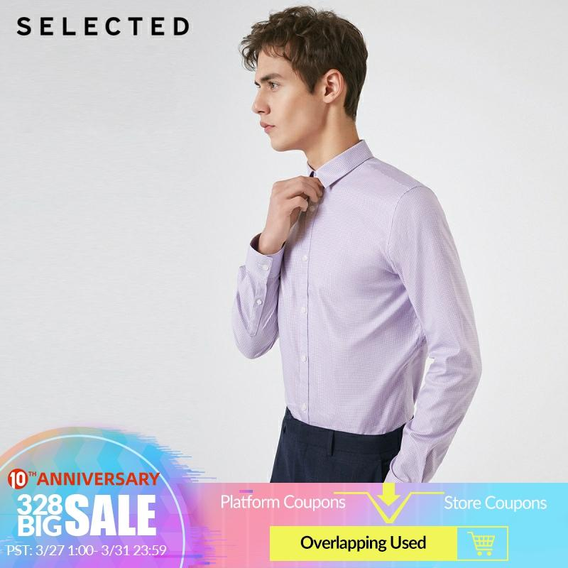 SELECTED Men's Slim Fit Cotton Thin Plaid Business Casual Long-sleeved Shirt S 419105581