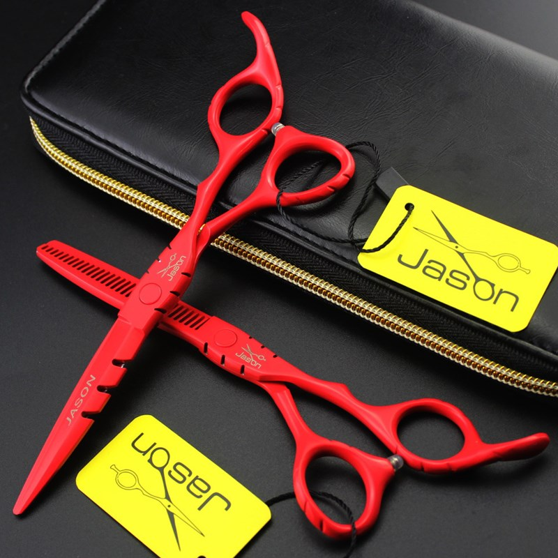 Red baking varnish cutting scissors 6inch stainless steel barber shop tool hairdressing scissor set thinning&straight shears