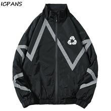 цена на ICPANS 3M Reflective Striped Zip Up Windbreaker Track Jackets Men 2019 Hip Hop Casual Outwear Jacket Coats Male Fashion Tops
