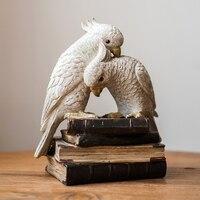 Retro Parrot Art Sculpture Decorations Bird Statue Animal Figurine Resin Craft Window Dressing Home Decorations R4860
