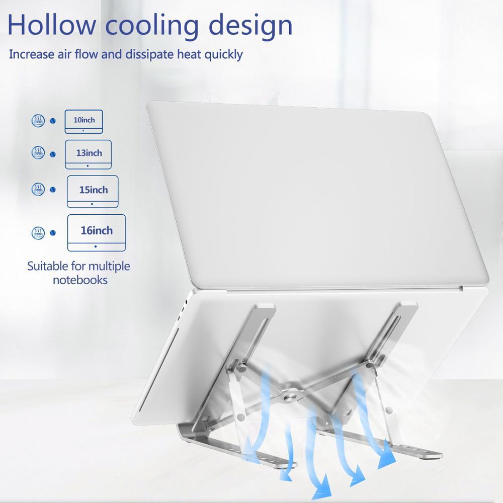 Draagbare Laptop Stand Aluminium Opvouwbare Notebook Ondersteuning Laptop Base Macbook Pro Holder Verstelbare Beugel Computer Accessoires 4