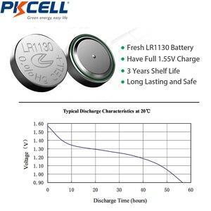 Image 5 - Botão alcalino pkcell, 20 peças/2 cartões 1.5v ag10 389 lr54 sr54 sr1130w 189 SB BU l1130 1130 lr1130 termômetro de moeda celular bateria