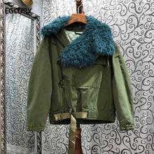 Женское пальто с меховым воротником однобортное повседневное