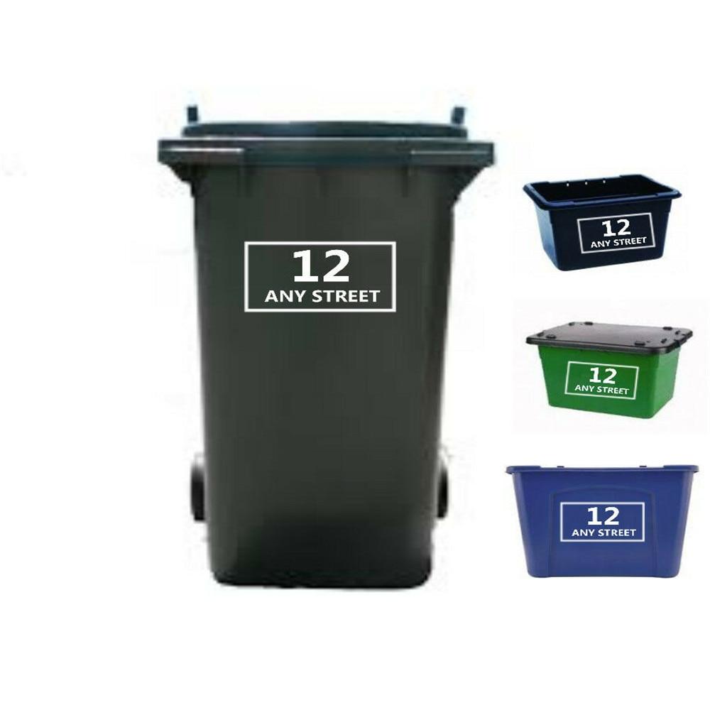 2 Número de Casa /& Nombre De Calle Pegatinas Etiquetas de reciclaje Personalizado Wheelie Bin