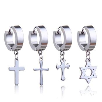 1 Pcs Stainless Steel Ear Studs Earrings Ear Ring Jewelry Decoration  2020 Winter Black Tassels Cross  Unisex  for Women and Men 2