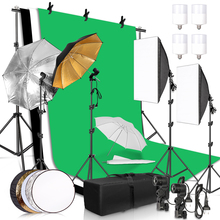 Photography Lighting Kit 2.6x3M Photo Background Muslin Backdrops & Softbox & Umbrella & Reflector& Light Stand For Photo Studio