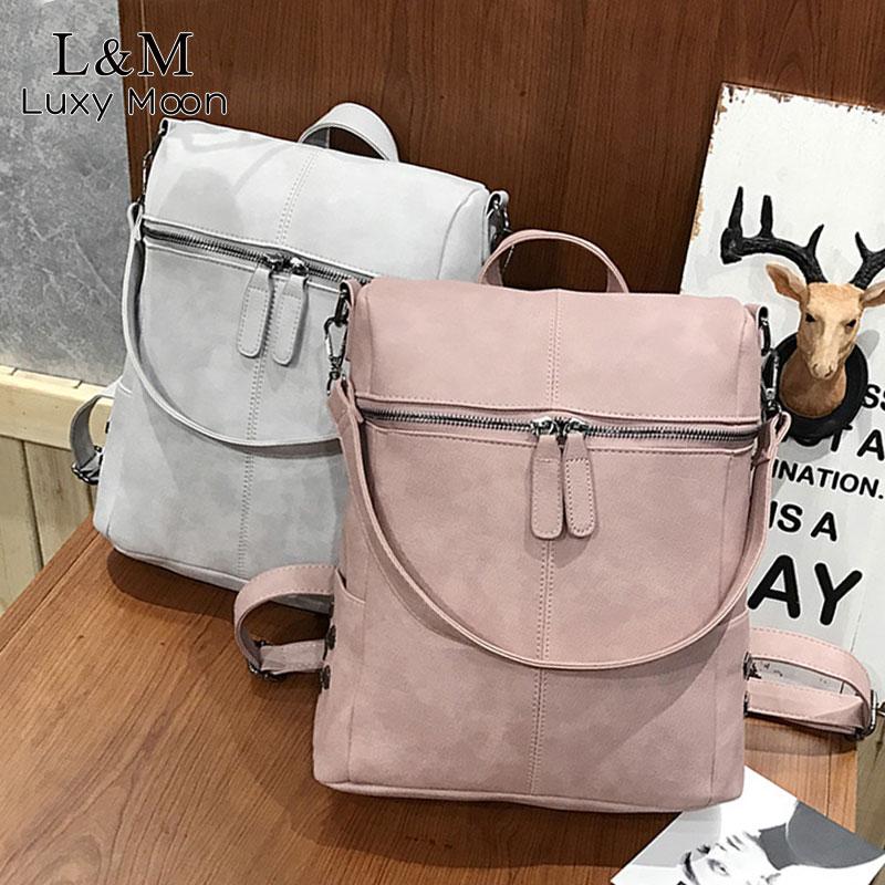 Vintage Women Backpack Leather Rivet School Backpacks For Teenage Girls Large Travel Shoulder Bags Mochila Black 2020 XA999H