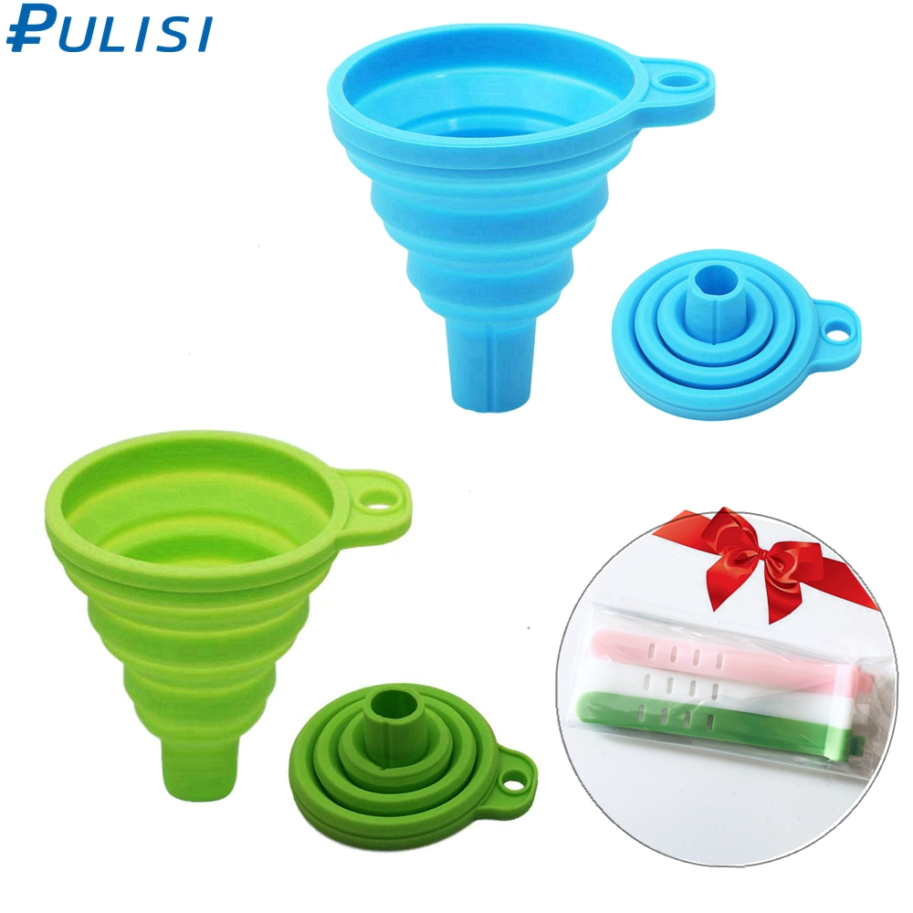 PULISI Silicone Funnel Foldable Kitchen Funnel For Water Bottle Liquid Transfer Food Grade FDA Kitchen Tools With A Gift Funnel