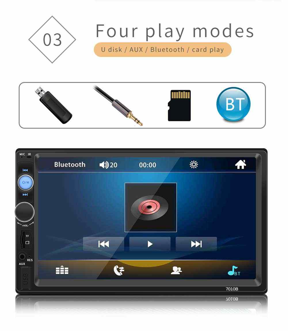 """2 din Autoradio Bluetooth audio lecteur multimédia 7 """"affichage numérique MP5 USB SD FM 2din Autoradio stéréo moniteur de sauvegarde"""