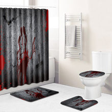 F Terror Skull 4 Piece Shower Curtain Bathroom Rugs and Mat Set Non Slip Mat for Bedroom Carpet 3D Bath Mat Toilet Mat Rugs(China)