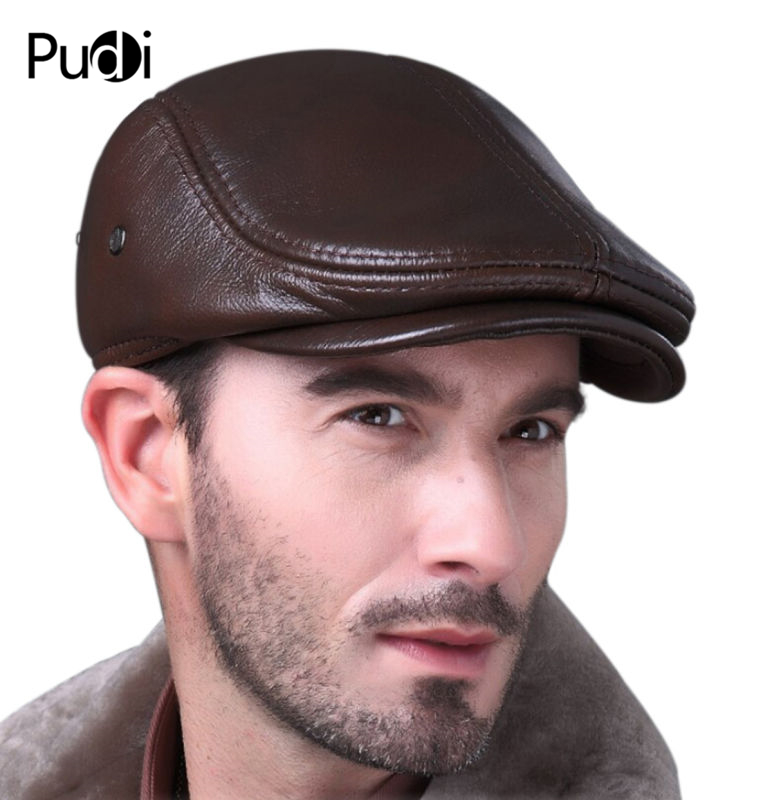 Image 5 - HL042 Spring Mens Real Genuine cow Leather baseball Cap brand Newsboy /Beret  Hat winter warm caps&hats men with ears ear flapleather baseball capbaseball capbaseball cap brand -
