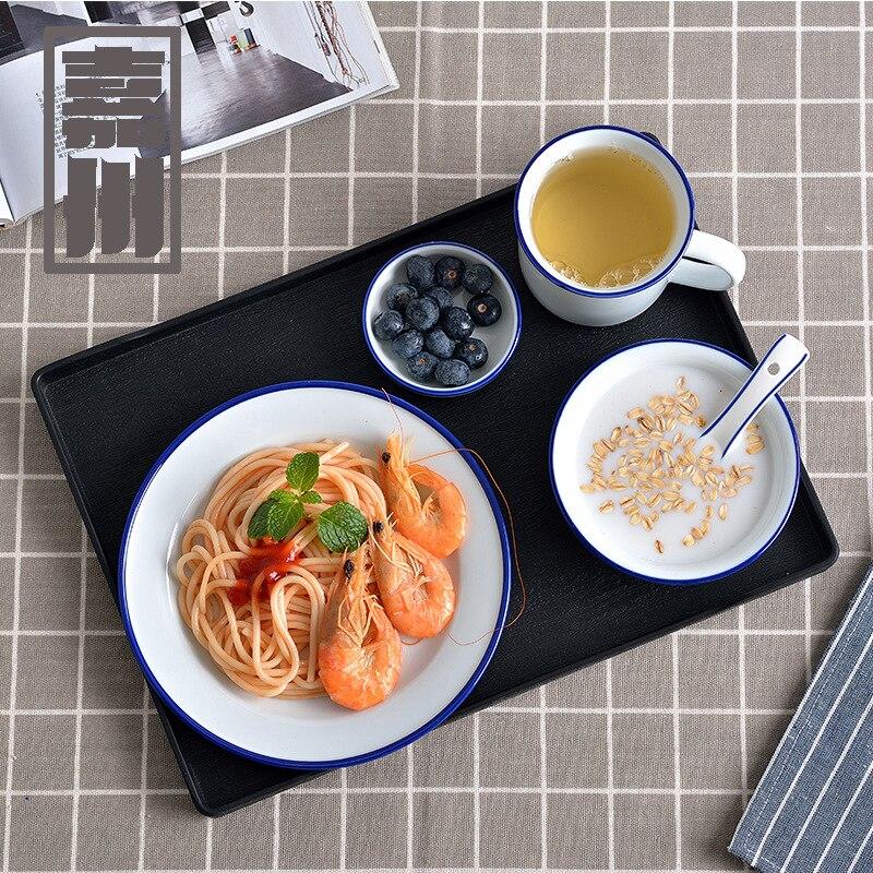 FANERCY couverts simples céramique | Bol à petit déjeuner, vaisselle créative petite ligne bleue, bol de ménage, cuillère ensembles de plats