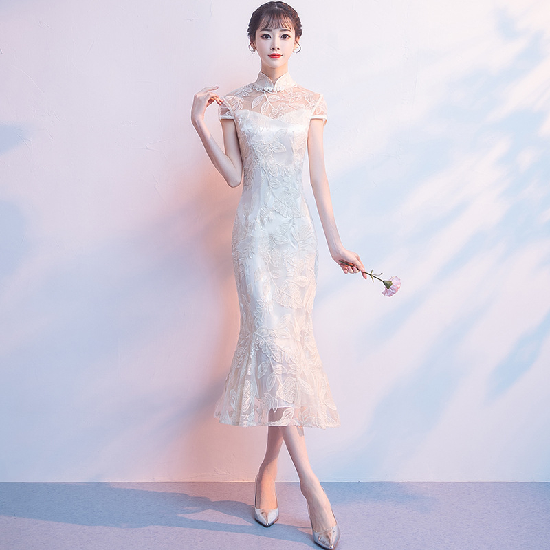 Chinese Evening Dress Qipao Modern Lace Mermaid Cheongsam Oriental Style Party Dresses Girl Short White Bride Gown Vintage