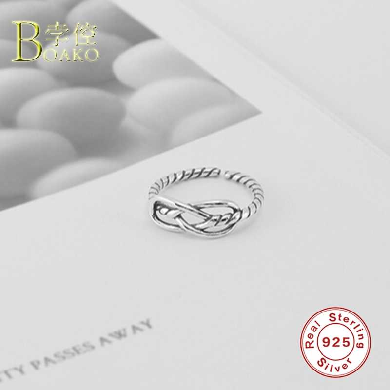 Real 925 แหวนเงินผู้หญิง Twist แหวนสาวของขวัญปรับนิ้วมือแหวนหญิง Hollow CROSS สาย anillos b5