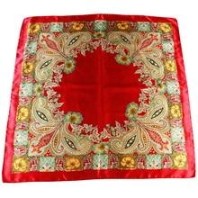 women square scarfs wraps spring neck wear satin silk scarf muslim head scarf hijabs shawls vintage paisley print 90cm wraps paisley print frayed trim scarf
