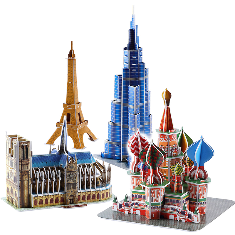 DIY Architecture 3D Cardboard Puzzle Toys Notre Dame de Paris Eiffel tower Vasily Cathedral World Famous Architectural Model Toy 1