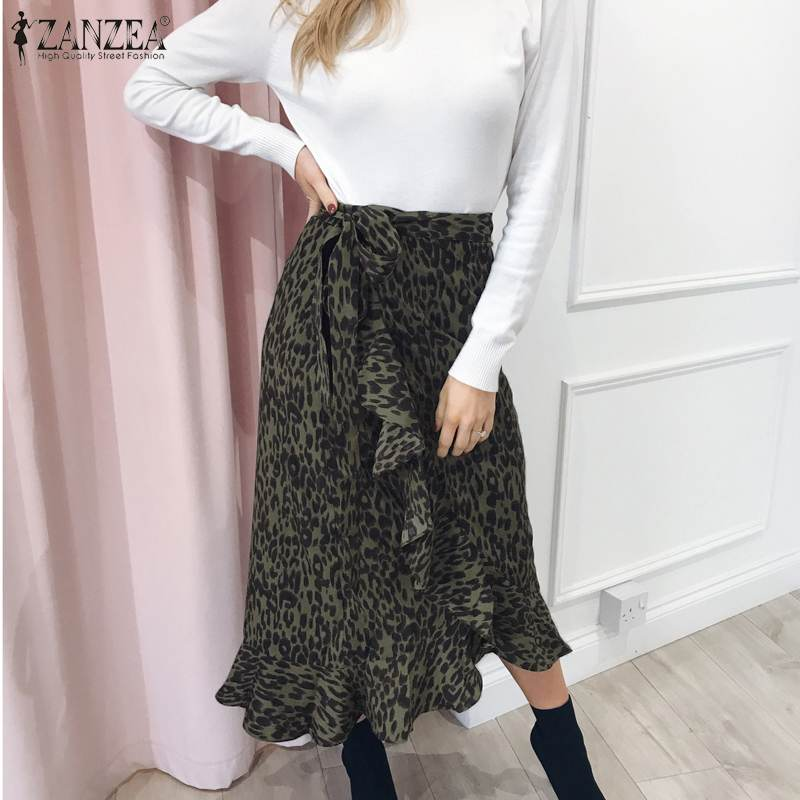 Women's Summer Printed Vestidos ZANZEA Chic Leopard Skirts Casual Lace-Up Asymmetrical Skirts Female Faldas Saia Robe Plus Size