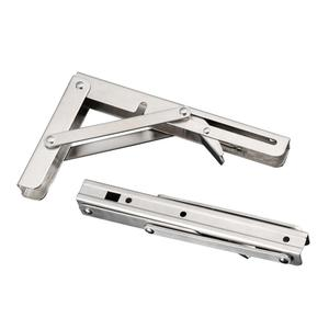 Image 1 - 2pcs Stainless Steel Folding Stand Table Bracket Shelf Bench 200kg Load Heavy for Table Work Space Saving DIY Bracket 8 20 inch