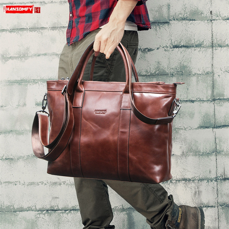 Casual Leather Men's Bag Business Briefcase Men Handbags 14-inch Computer Bag Brown Genuine Leather Male Laptop Bag Travel Bags