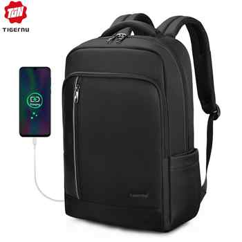 Tigernu Brand High Quality Water Repellent Nylon Men 15.6 inch Laptop Backpack Black&Purple Anti Theft Business Travel Schoolbag - DISCOUNT ITEM  45% OFF All Category
