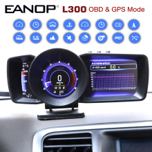 Eanop OBD2 Gps Hud Display Guage Head Up Display Obdii Scanner Met Rem Turbo Snelheid Up Test Snelheid Rpm Display mph Kmh