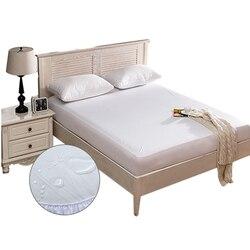 Capa protetora de colchão impermeável suave para cama sólido branco molhando respirável almofada de proteção hipoalergênica anti-ácaro