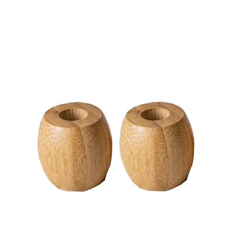 2pcs Eco Bamboo Toothbrush Holder Wooden Toothbrush Bathroom Stands Natural Vegan image