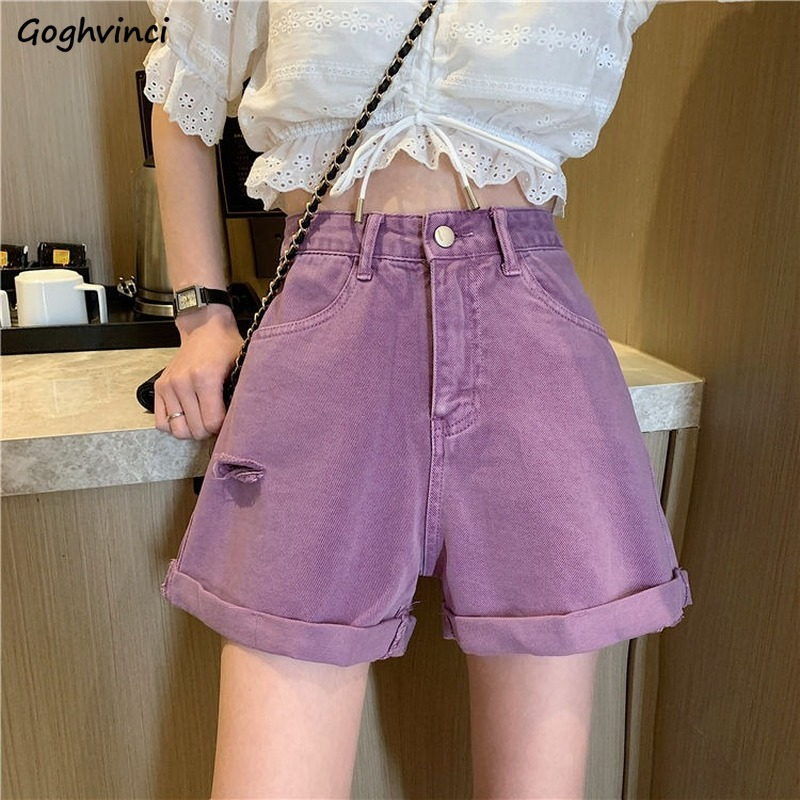 Shorts Women Summer Denim Holes Ripped Purple High-waist Vintage Slim Wide-leg Korean-style Students Womens All-match Chic New