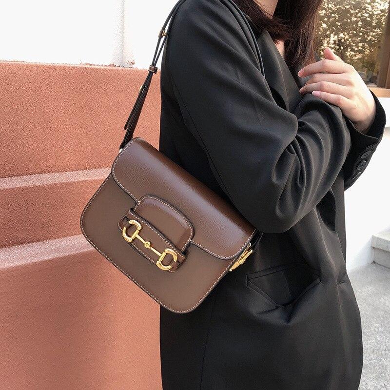 Horsebit Buckle Saddle Bag Women New Bag Tofu Bag Leather Shoulder Bag Vanity Crossbody Bags For Women Designer Dupe Handbags