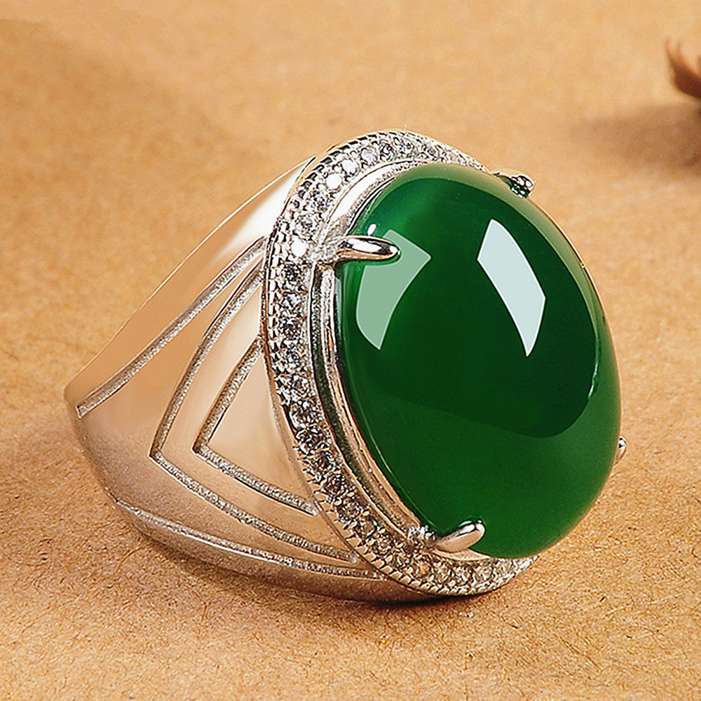 Oval green jade gemstones rings for men zircon diamonds white gold silver color jewelry masculine vintage royal band Arabia gift