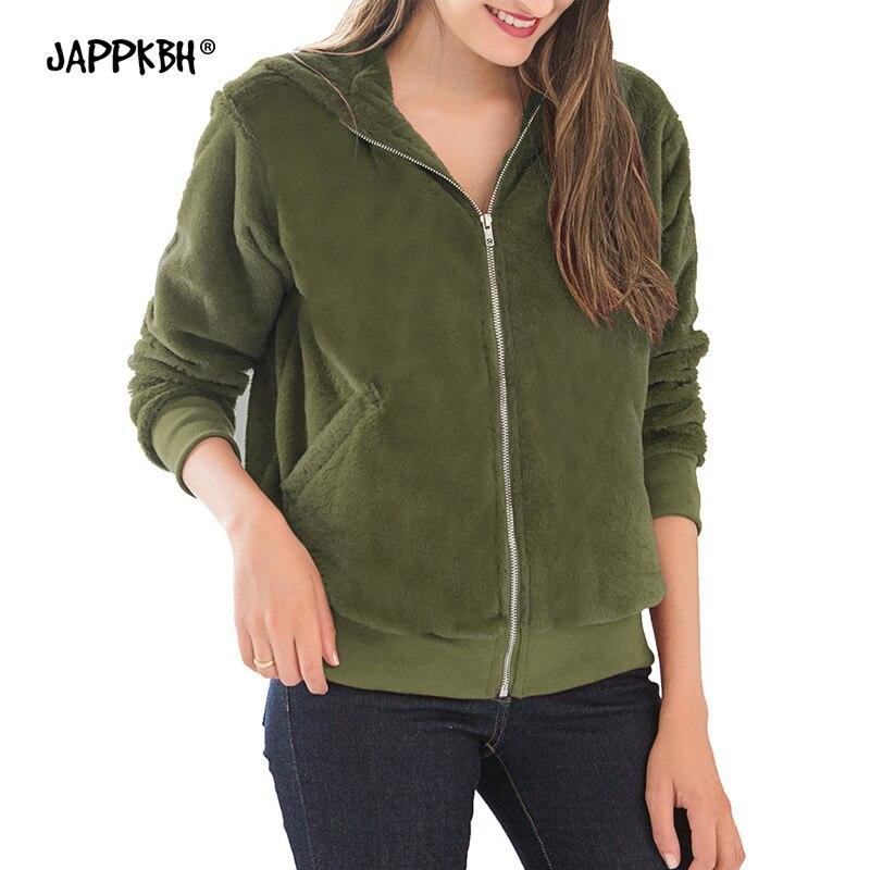 Plus Size Autumn Winter Faux Fur Coat Women 2019 Casual Slim Warm Hoodies Jackets Female Zipper Long Sleeve Coats Black Outwear
