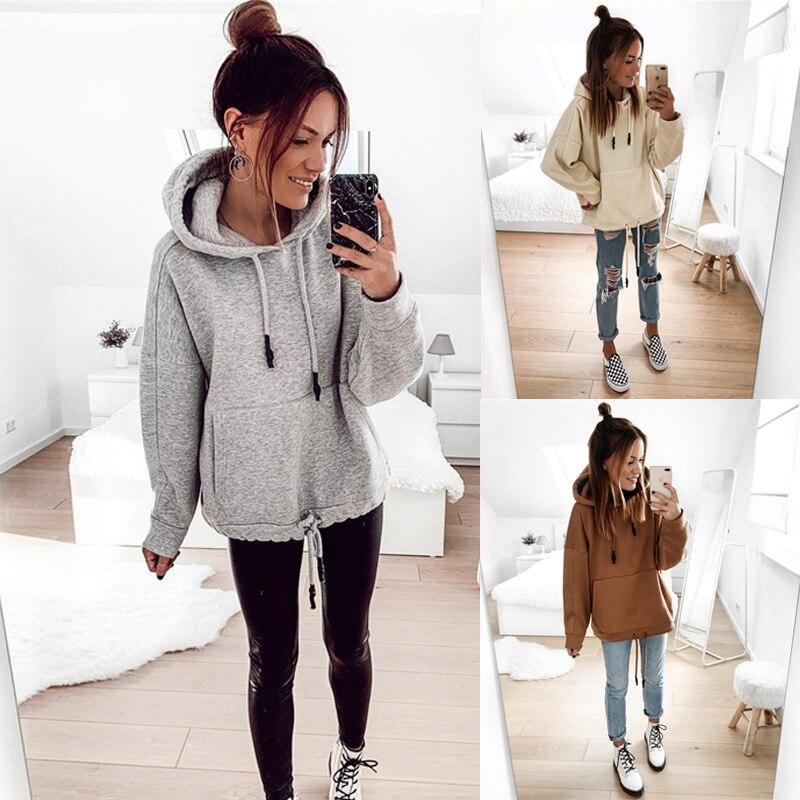2020 New Women Hoodies Sweatshirt Autumn Winter Pocket Long Sleeve Lace Up Solid Pullover Tops Ladies Casual Loose Warm Hoodies