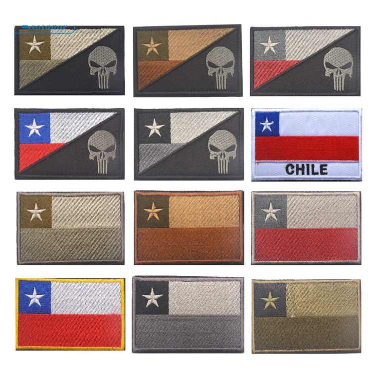 CHILI VLAG Punisher CHILEENSE NATIONALE VLAG Patch Moreel Tactische Patch Haak Lus Badge Decor Patches
