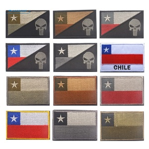 CHILE FLAG Punisher CHILEAN NATIONAL FLAG Patch Morale Tactical Patch Hook Loop Badge Decor Patches(China)