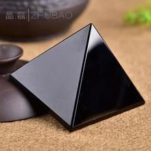 80mm Black pyramid natural obsidian quartz crystal town house feng shui decoration