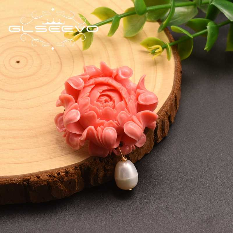 GLSEEVO Big Coral Flower Brooch Natural Fresh White Pearl For Women Girl Accessories Handmade Fine Jwellery  GO0355A