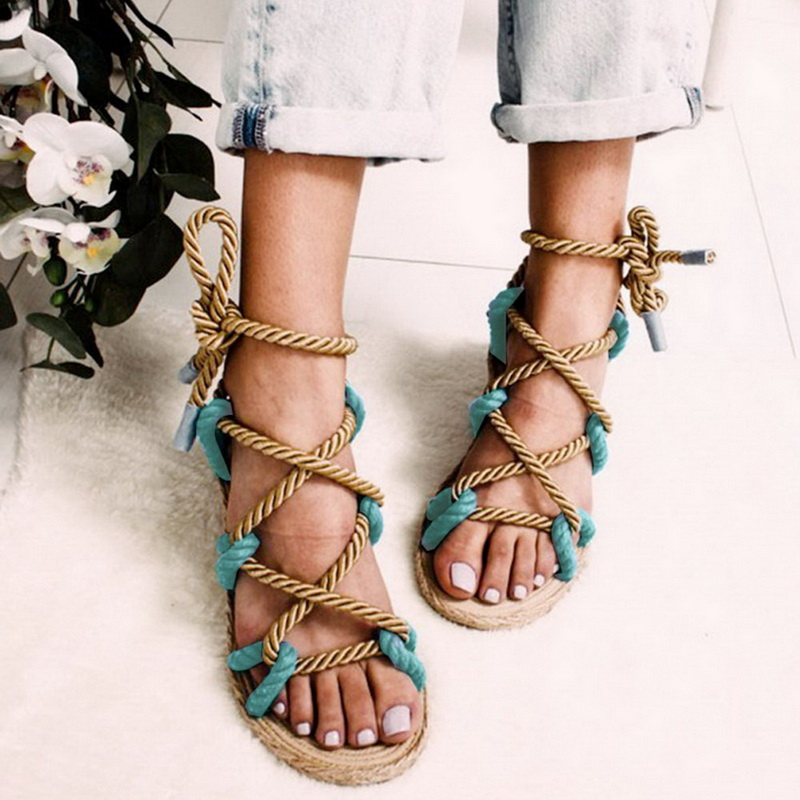 LOOZYKIT Women Sandals Rope Lace Up Summer Shoes Woman Heels Sandals Pointed Fish Mouth Sandals Woman Pumps Hemp Rope Shoes