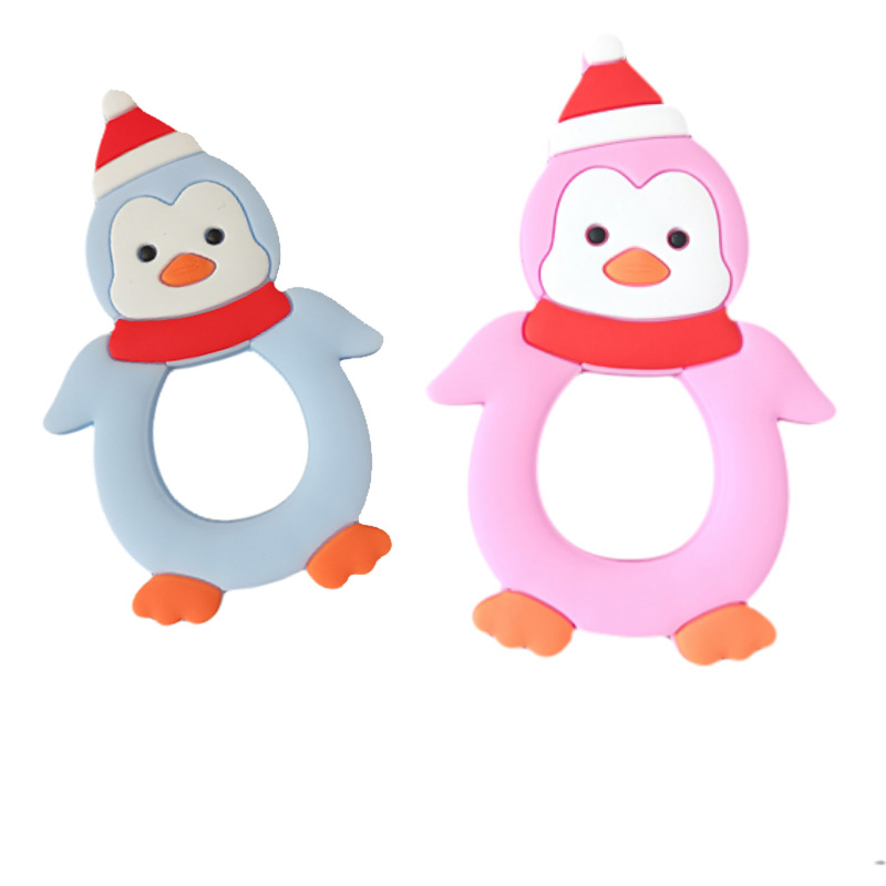 New  Silicone Teether Cartoon Penguin Teething Toddler Toys For Baby Infant Toy Silicone Baby Teether Ba
