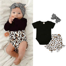 Get more info on the 2019 Fashion Infant Toddler Kids Clothing Baby Girl  Romper Tops Leopard Print Pants Outfits Set