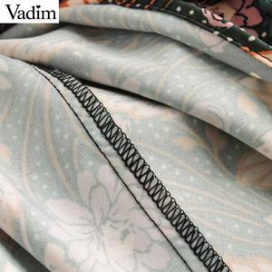 Image 4 - Vadim women retro bow tie collar maxi dress floral pattern short sleeve side zipper female fashion casual dresses vestidos QD088